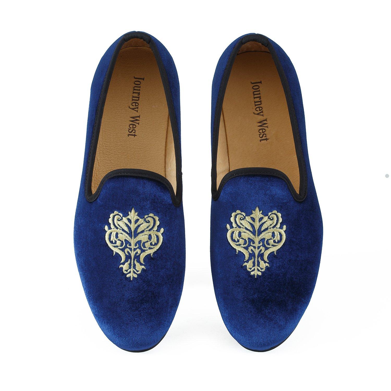 Journey West Herren Vintage Schuhe Samt Slipper Herren Stickerei Noble Herren Schuhe-Slipper Smoking Slipper Mokassins Herren Schuhe Loafers Herren