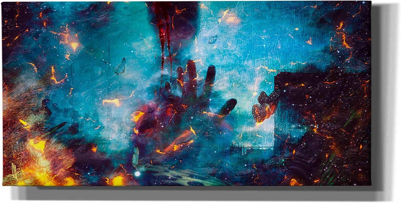 """Cortesi Home 'Between Life & Death' by Mario Sanchez Nevado Canvas Wall Art, 12"""" x 24"""", Gold"""