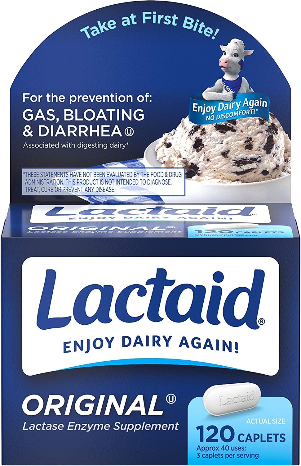 Lactaid Original Strength Lactose Intolerance Relief Caplets with Natural Lactase Enzyme, Dietary Supplement to Help Prevent Gas, Bloating & Diarrhea Due to Lactose Sensitivity, 120 ct.