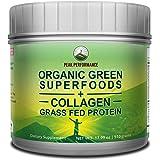 Peak Performance Organic Greens Superfood + Grass Fed Collagen - Ultimate Blend of Best Tasting Organic Green Juice Superfood