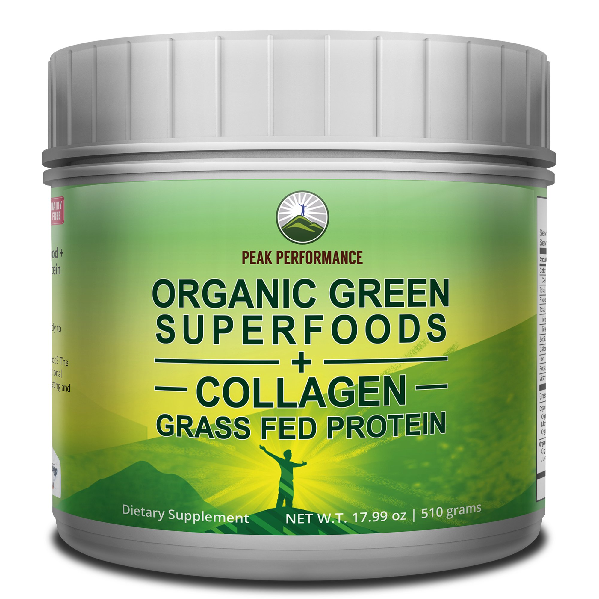 Peak Performance Organic Greens Superfood Grass Fed Collagen - Ultimate Blend of Best Tasting Organic Green Juice Superfood with Pure Pasture Raised Hydrolyzed Protein Powder. 42+ Greens and Aminos by Peak Performance Coffee