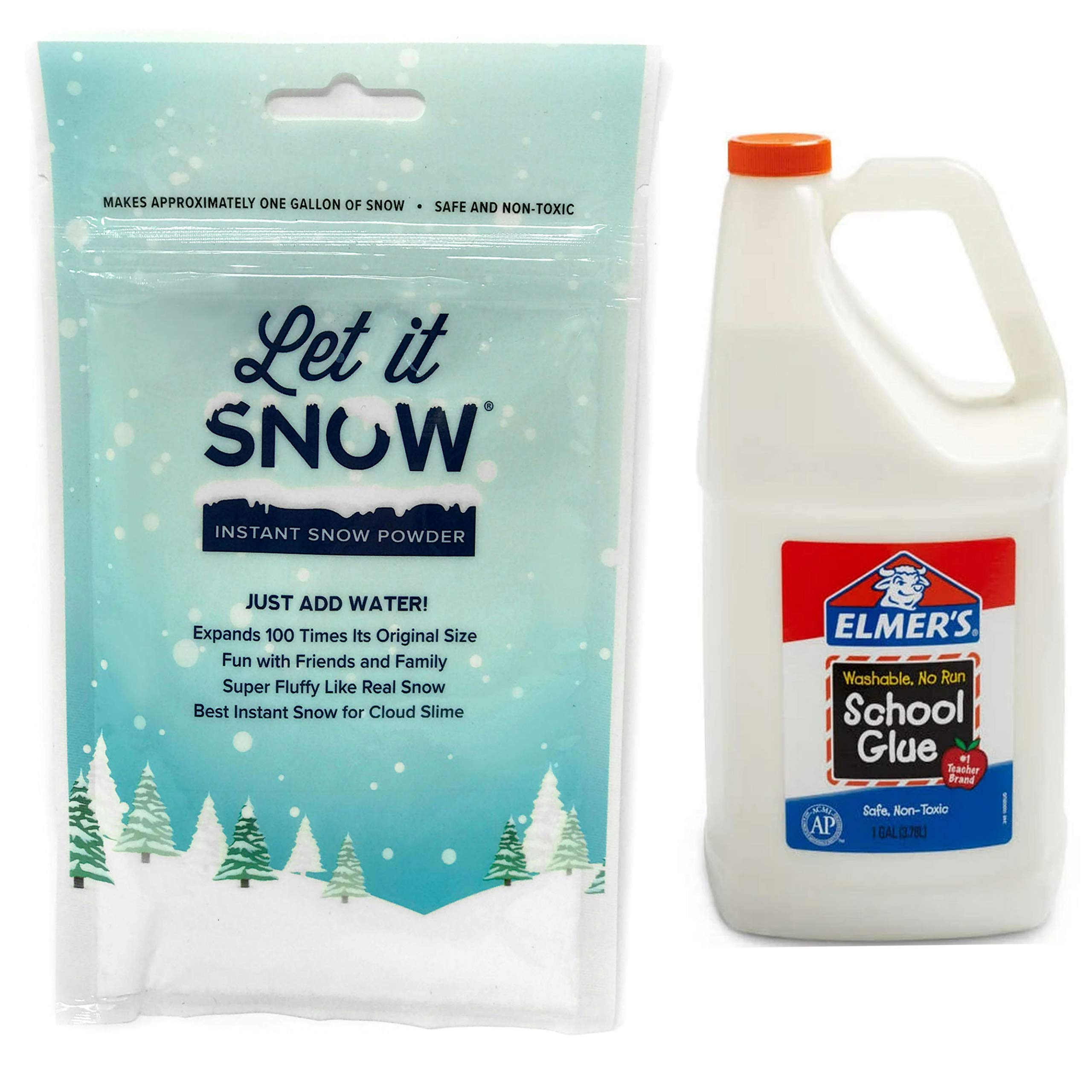 Let it Snow Instant Snow Powder (4 Gallons) and Elmer's Glue (1 Gallon) - Mix Makes Magical Fluffy White Artificial Snow - Perfect for Cloud Slime! Frozen Theme Birthday Parties and Snow Decorations! by Let it Snow