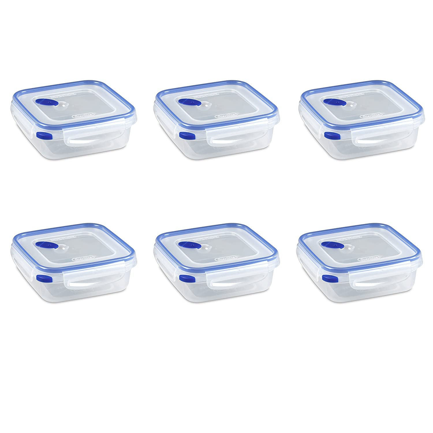 Sterilite 03314706 Ultra-Seal 4 Cup Food Storage Container, See-Through Lid & Base with Blue Accents, 6-Pack