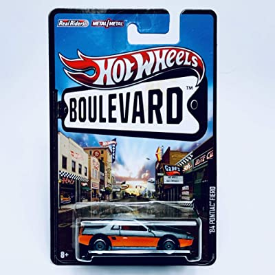 Hot Wheels Gray & Orange '84 PONTIAC FIERO Boulevard Series 1:64 Scale Collectible Car with Real Riders: Toys & Games