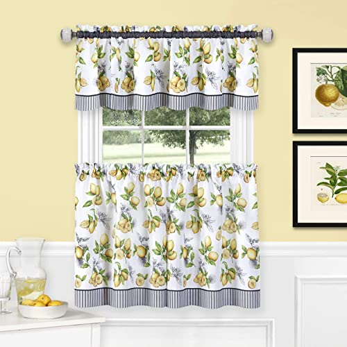 Ben Jonah PrimeHome Collection Lemon Drop Tier and Valance Window Curtain Set-58×24-Yellow, Yellow