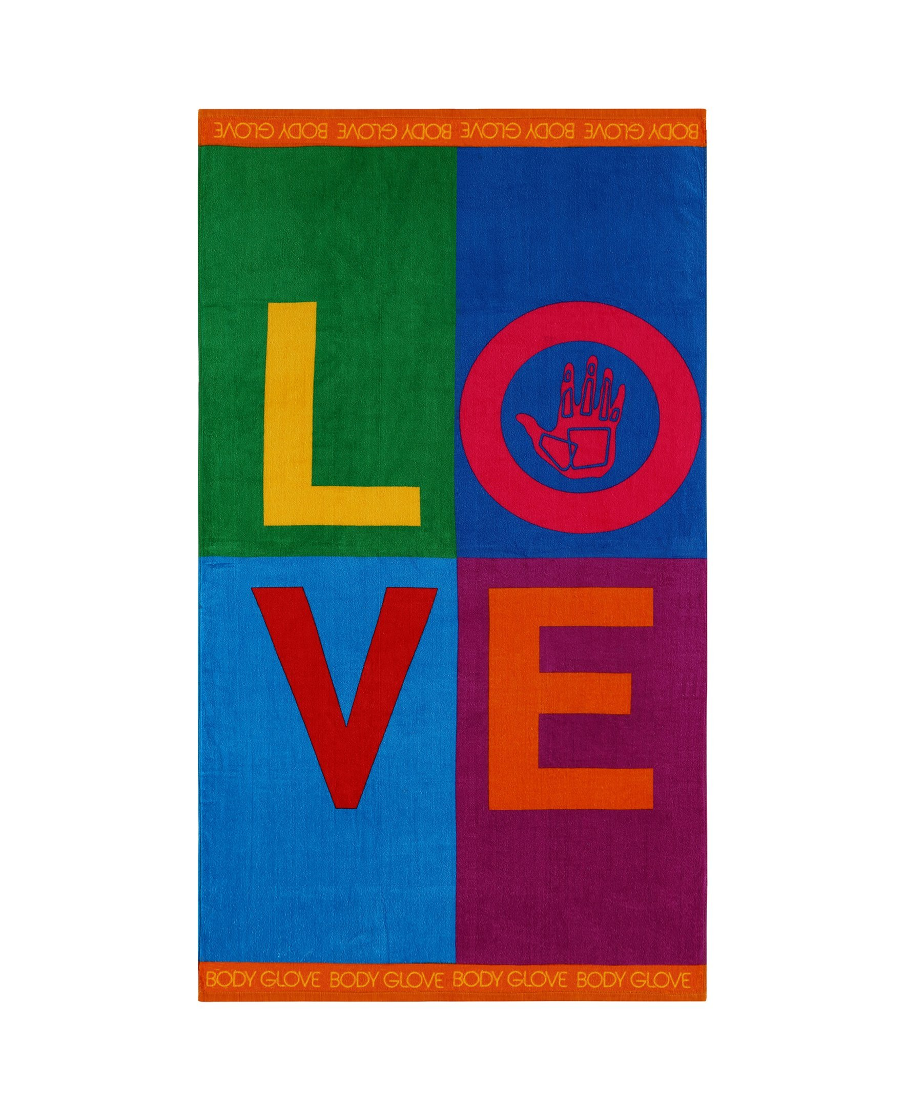 Body Glove Extra-Large Love Beach Towel, 70'' x 35'', Multicolored