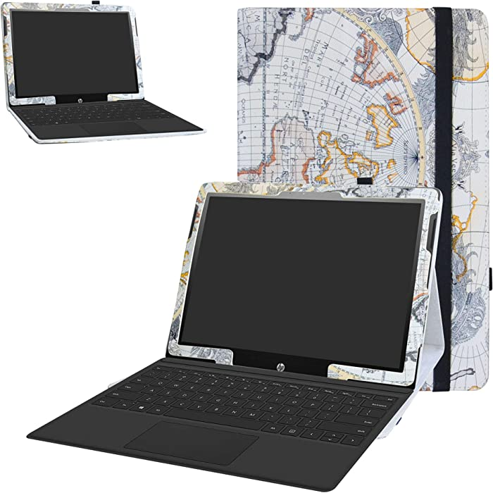 """HP Chromebook x2 Tablet Case,Bige PU Leather Folio 2-Folding Stand Cover for 12.3"""" HP Chromebook x2 12-fXXX Series 2-in-1 Tablet (Such as 12-f014dx),Map White"""