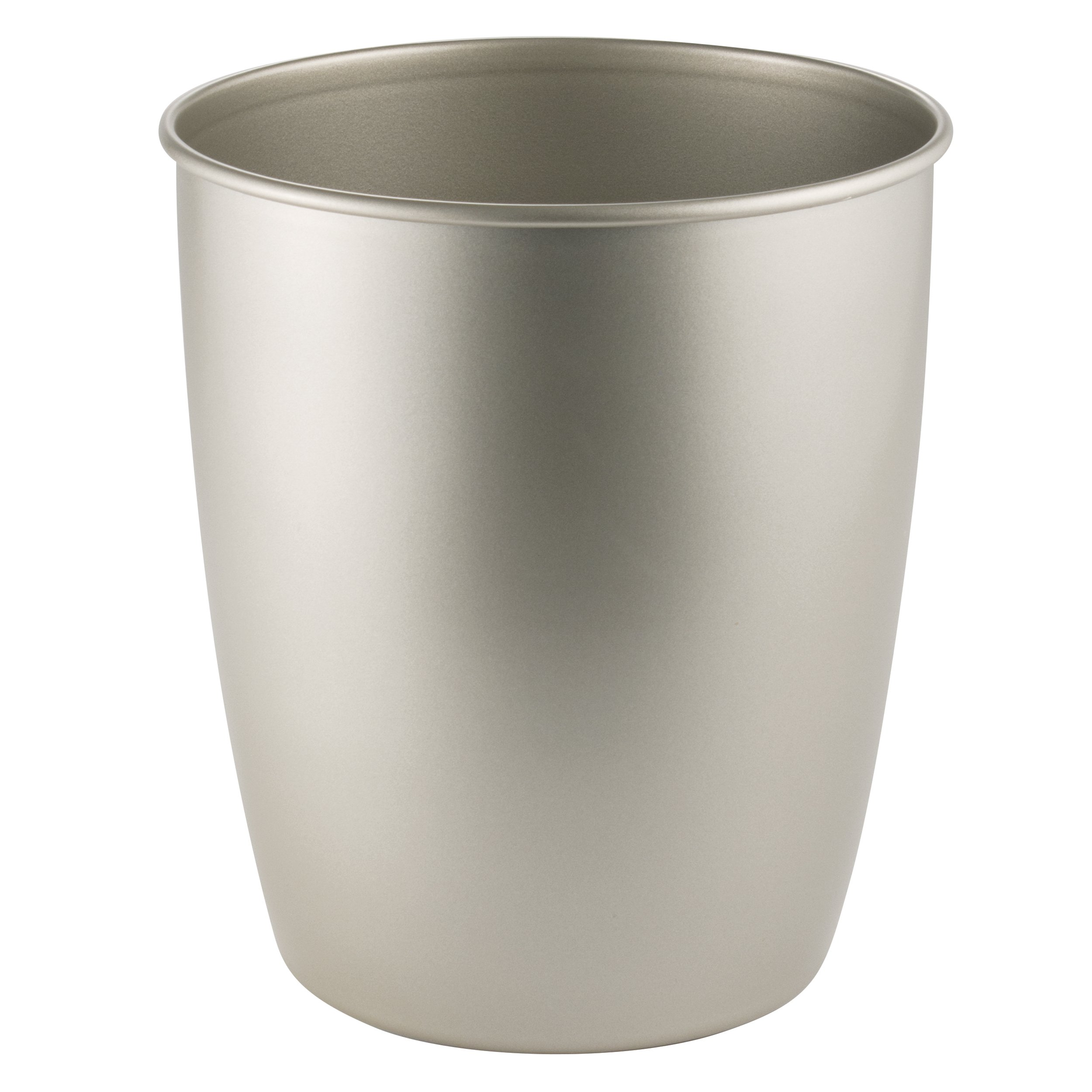 mDesign Round Metal Small Trash Can Wastebasket, Garbage Container Bin for Bathrooms, Powder Rooms, Kitchens, Home Offices - Durable Steel with Satin Finish