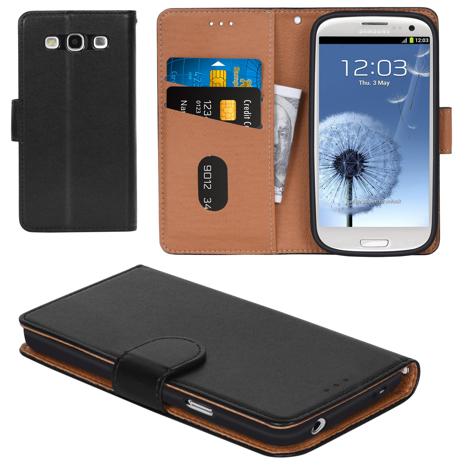 Galaxy S3 Case, Aicoco Flip Cover Leather, Phone Wallet Case for Samsung Galaxy S3/S3 Neo - Black