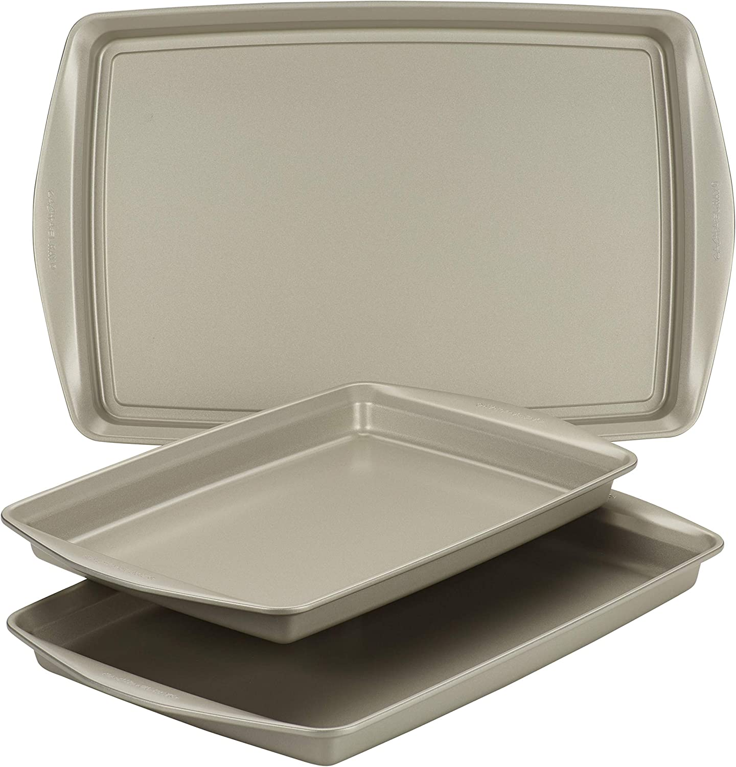 Rachael Ray Bakeware Nonstick Cookie Pan Set Gray with Agave Blue Grips 3-Piece
