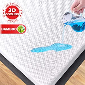 Premium Cooling Bamboo Waterproof Mattress Protector King Size 3D Air Fabric Ultra Soft Breathable Mattress Pad Cover Comfort & Protection Phthalate & Vinyl-Free (White 3D Bamboo Fabric, King)