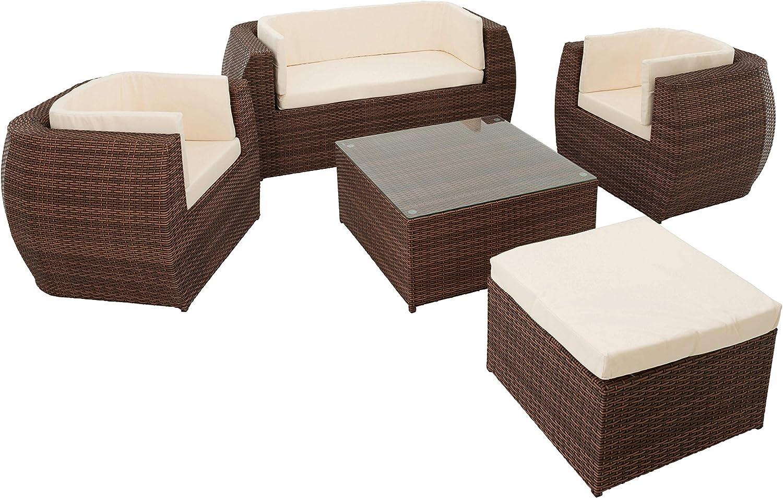 ESTEXO Polyrattan Sitzgruppe Gartenmöbel Set Essgruppe Rattan Sofa-Garnitur Lounge Sessel Tisch Hocker Braun
