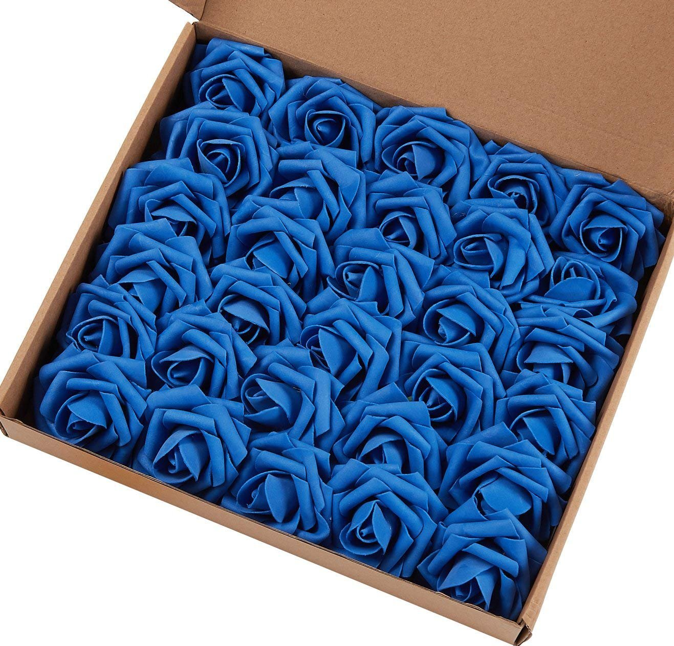 Marry Acting Artificial Flower Rose, Real Touch Artificial Roses for DIY Bouquets Wedding Party Baby Shower Home Decor (60pcs Royal Blue)