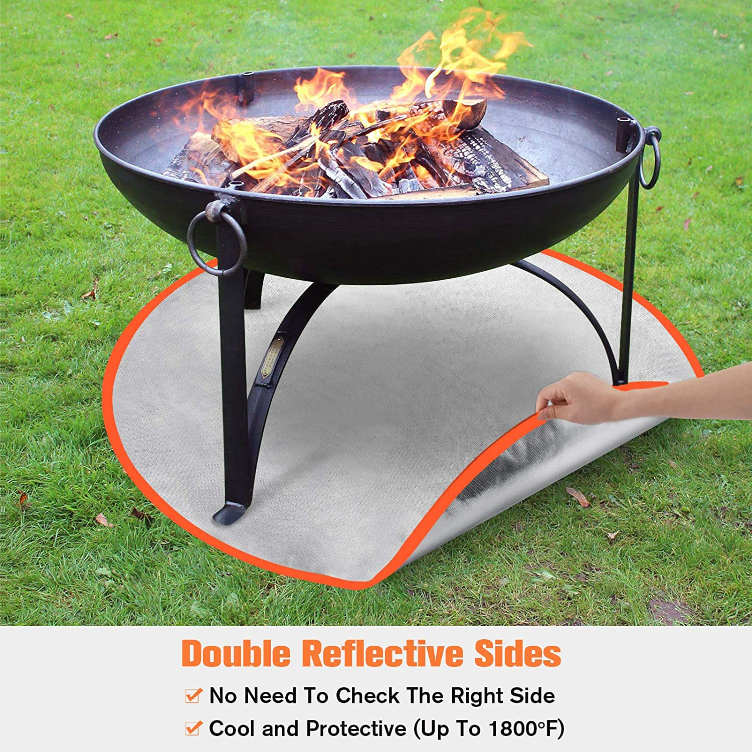 Welluck 32 Inch Fire Pit Mat Fireproof Firepit Pad Deck Protector Double Sided Round Heat Resistant Shield Wood Concrete Floor Grass Patio Mat For Chiminea Solo Bonfire Grill Stove Patio Lawn Garden Leaddigital Grills