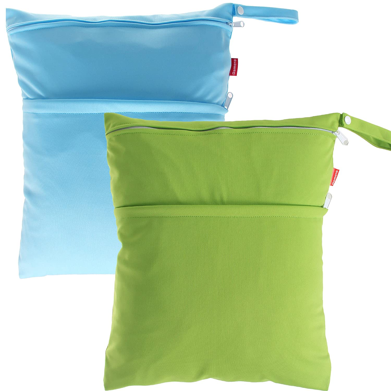 Damero 2pcs Pack Cute Travel Baby Wet and Dry Cloth Diaper Organizer Bag(Medium, Purple+Yellow) Damai