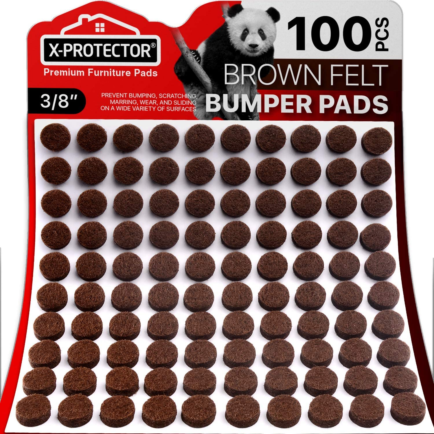 """Cabinet Door Bumpers X-Protector – Small Felt Pads 3/8"""" – 100 PCS Ideal Felt Bumpers – Self-Adhesive Thick Felt Dots – Bumper Pads to Protect Glass & Other Surfaces (Brown)!"""