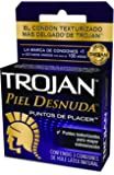 Trojan Condón Piel Desnuda Puntos de Placer Texturizado, 3 piezas
