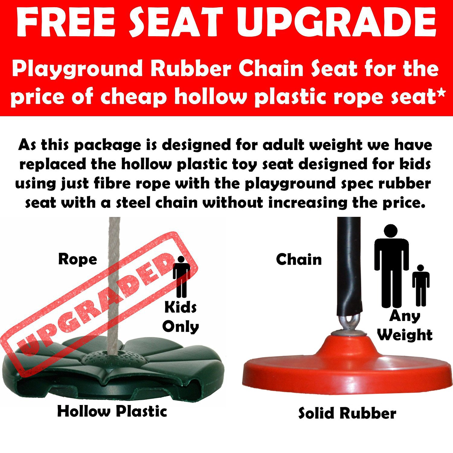 Complete Kit *Upgraded Playground Seat 8mm Adventure Garden Zip Wire Package 8mm Cable Spring Brake
