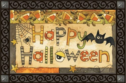 Spooky Halloween Doormat Bat Spider Indoor Outdoor MatMates 18 x 30