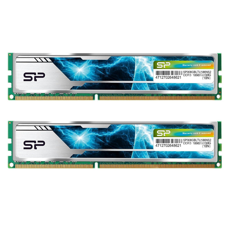 シリコンパワー デスクトップPC用 メモリ ヒートシンク付 240Pin DIMM DDR3-1600 (PC3-12800) 8GB×2枚 1.5V CL9 (無期限保証) SP016GBLTU169ND2