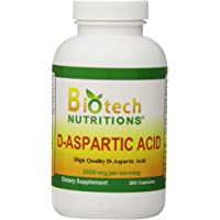 Biotech Nutritions D-Aspartic Acid Dietary Supplement, 3000 mg, 200 Count