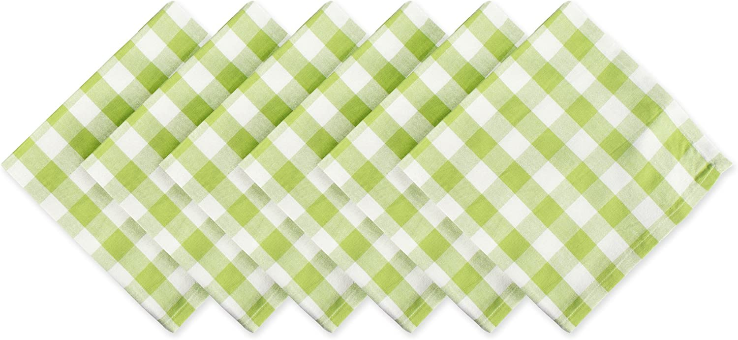 DII Checkered Collection Tabletop, Napkin Set, Green Apple 6 Count