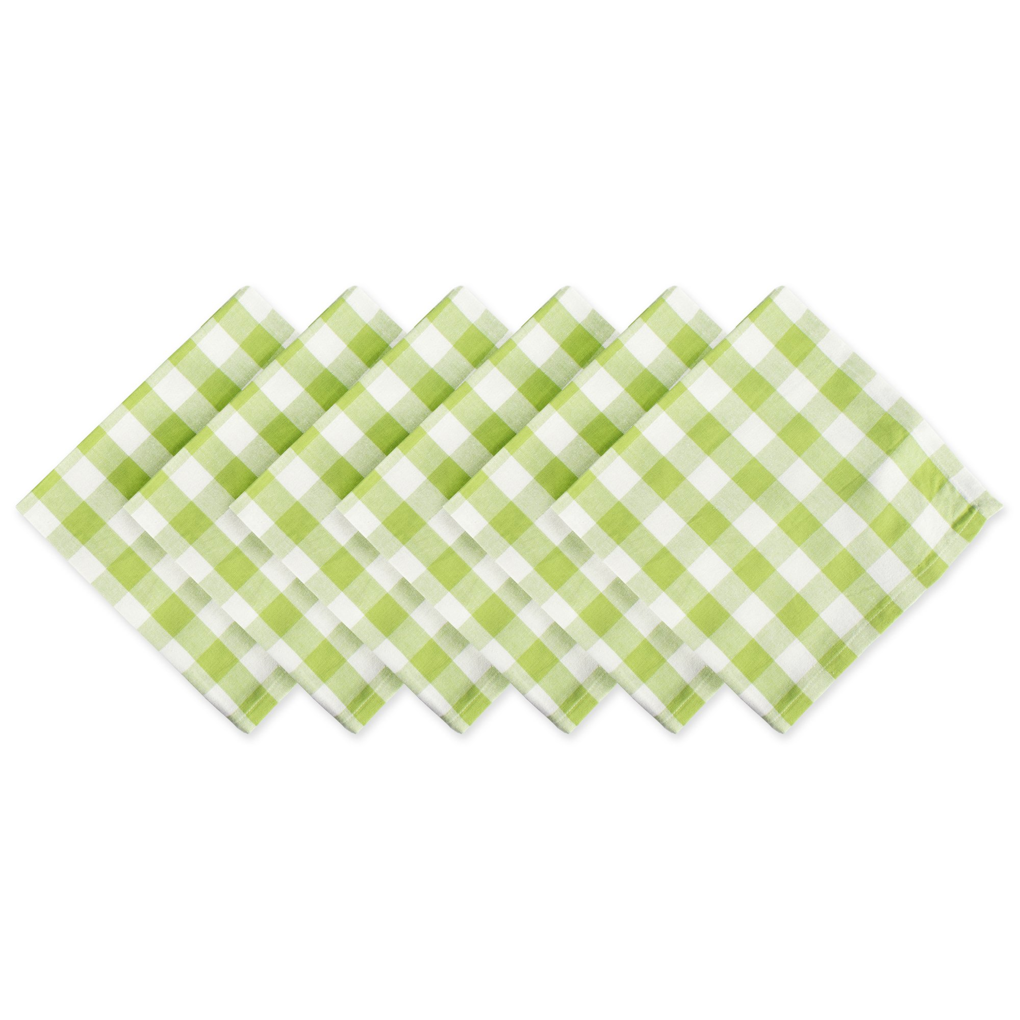 DII 100% Cotton, Oversized Basic Everyday 20x 20 Napkin, Set of 6, Green Apple Check