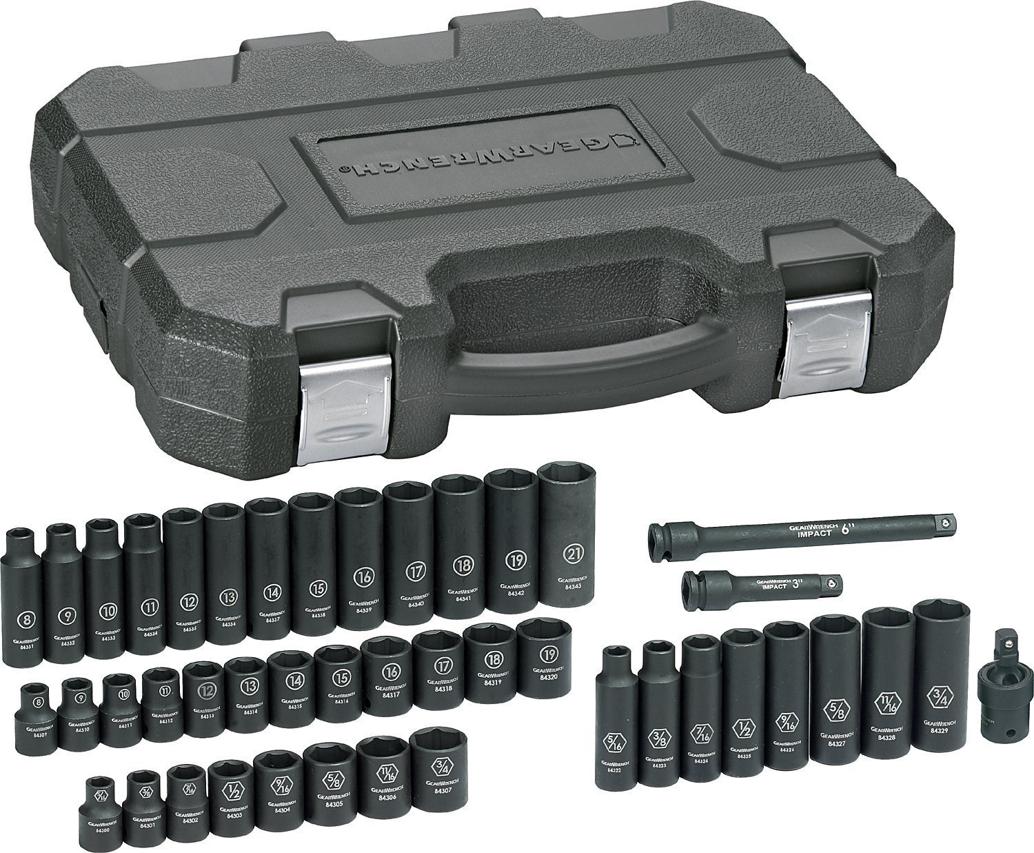 GEARWRENCH 44 Pc. 3/8'' Drive 6 Point Standard & Deep Impact SAE/Metric Socket Set - 84916N by GearWrench