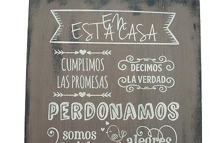 Enkolor/Cuadro Madera/Frases positivas/Normas de la casa/Artesanal/Cacao/40X60cm.