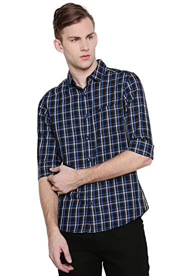 7413b8a7c4 Chennis Navy Blue Checked Slim fit Shirt: Amazon.in: Clothing & Accessories