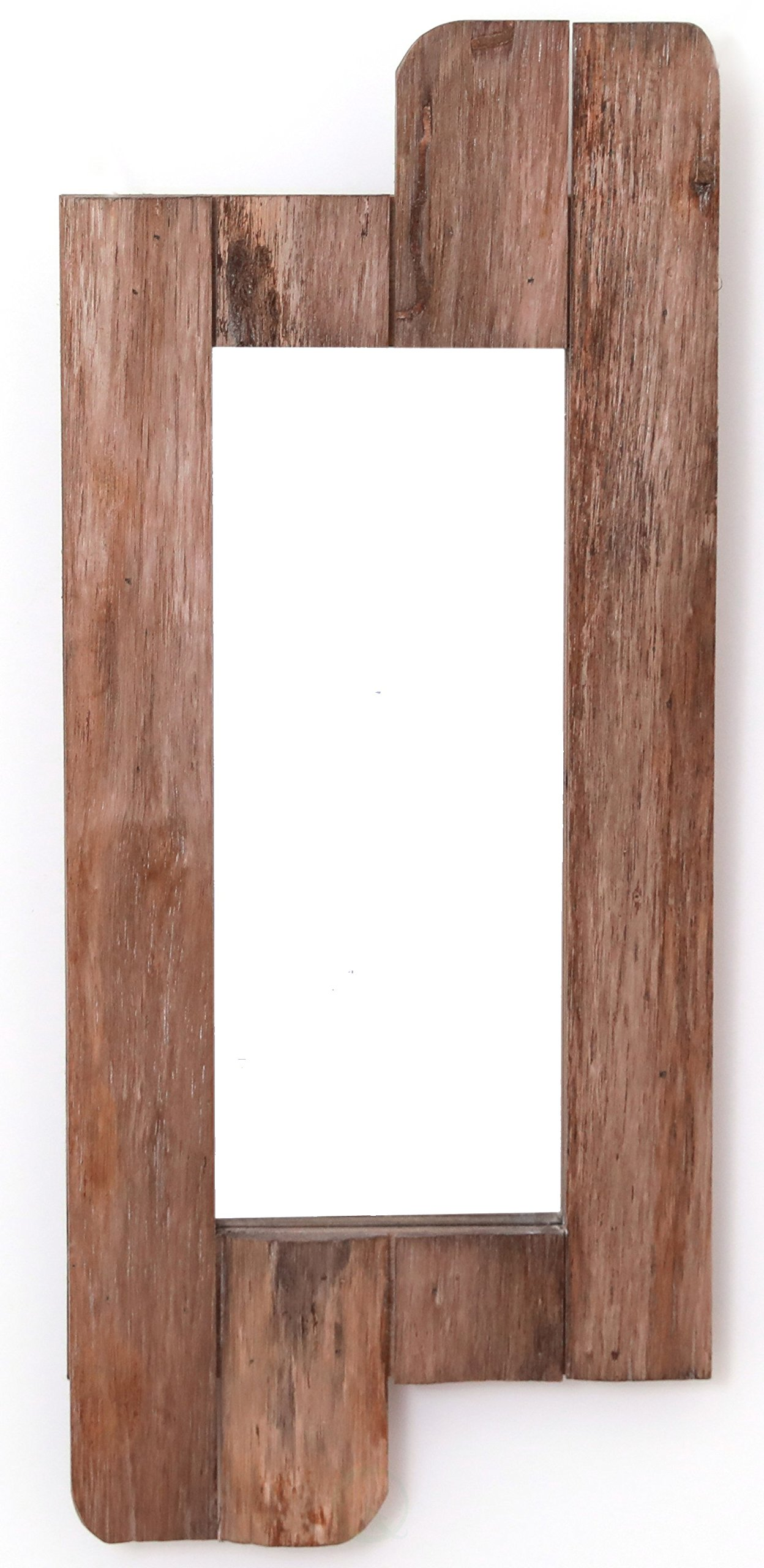 Vintiquewise QI003368.S 28'' High Rustic Natural Barn Wood Framed Wall Mirror