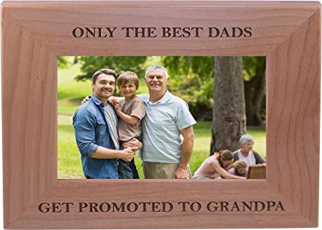 Father Gift Dad Gift The Best Dads Get Promoted To Grandpa Personalized Picture Frame Grandpa Frame