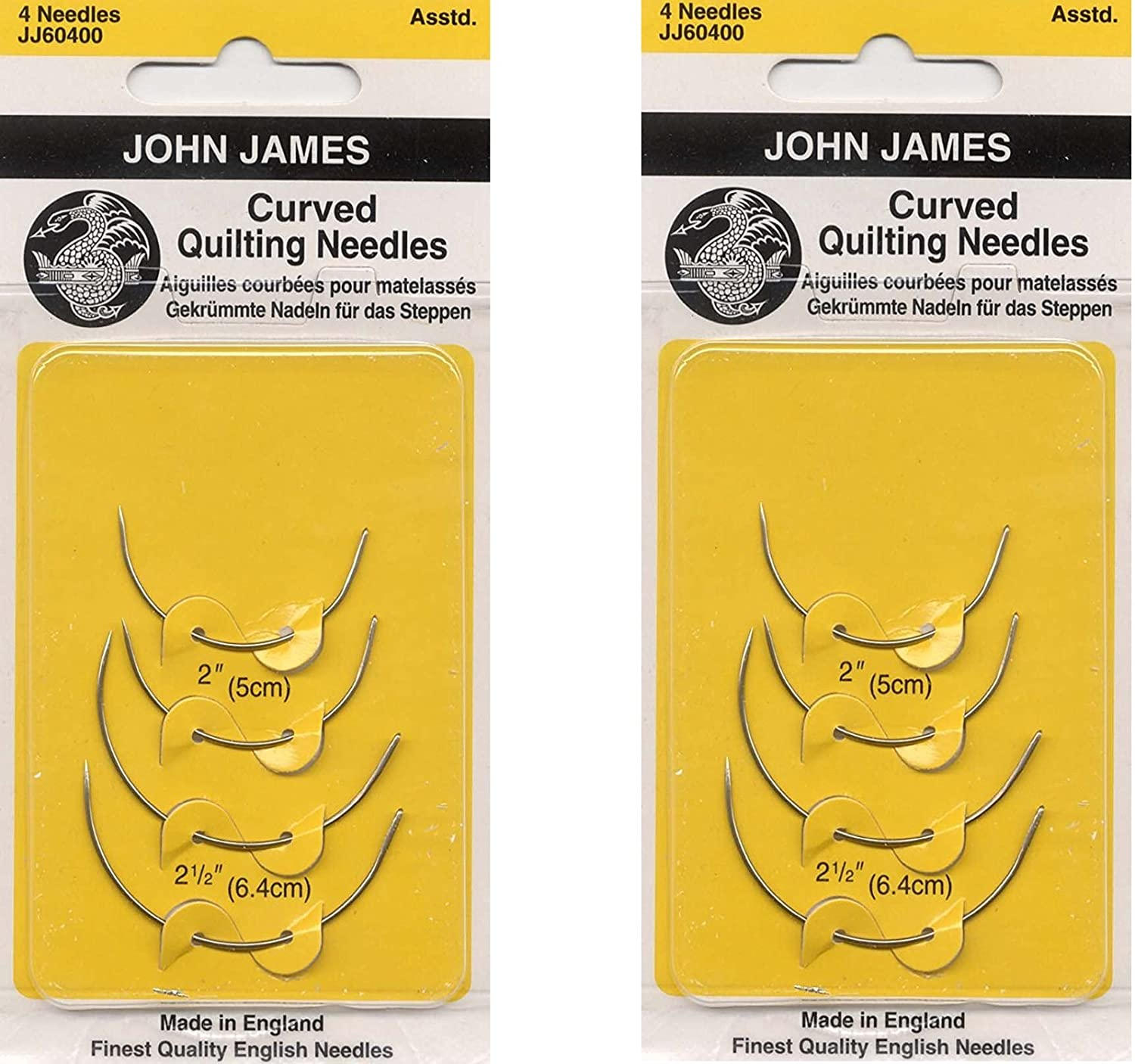Colonial Needle Curved Quilting Hand Needles, 4-Pack (2 Pack)