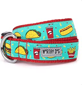 The Worthy Dog Fast Food Fest Pattern Lead, Designer Comfortable Nylon Webbing Leash Fits Small, Medium and Large Dogs, Turquoise