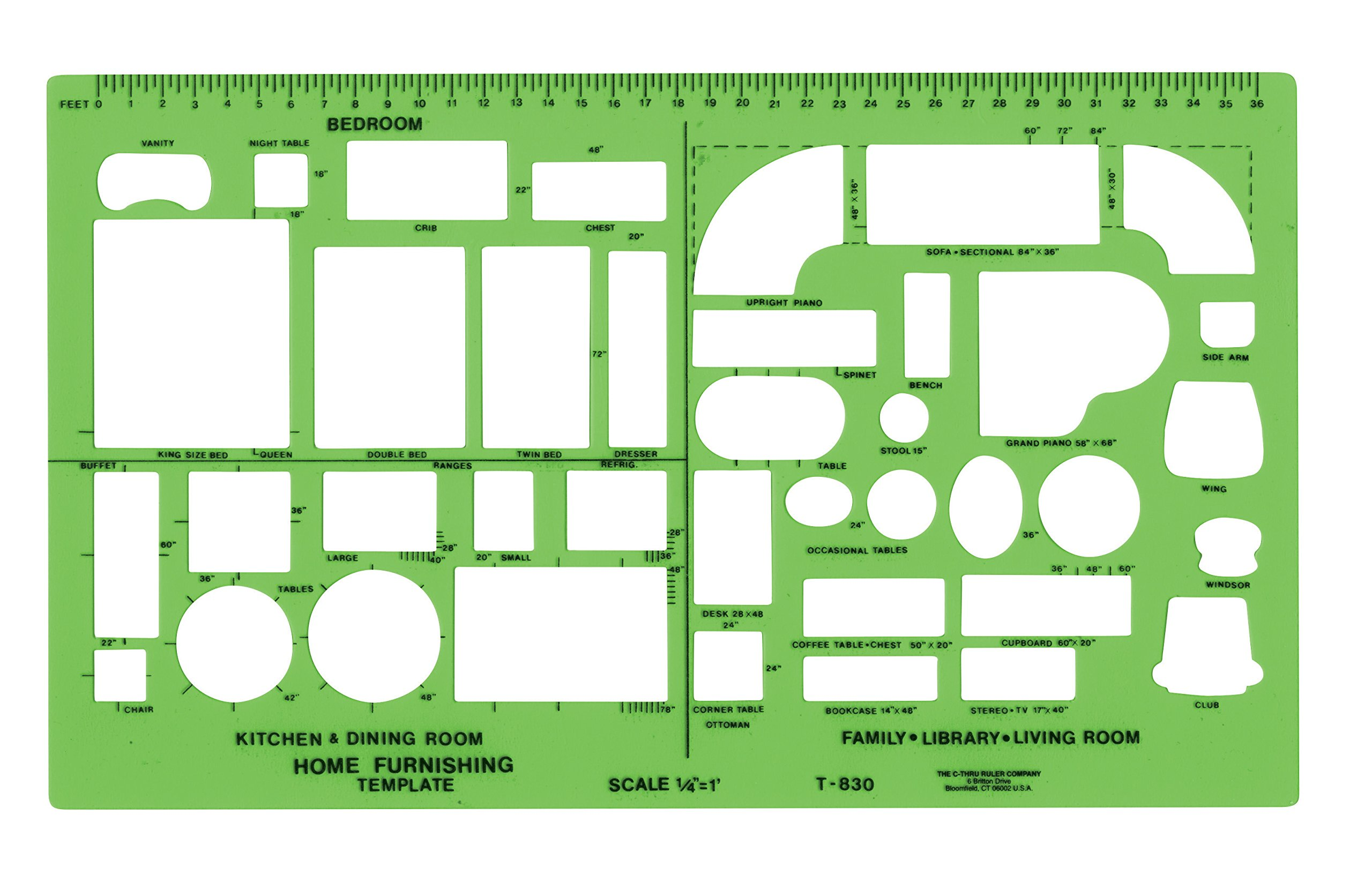 Westcott Plastic Designer Template, 1/4 Inches, Green by Westcott