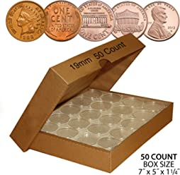 50 PENNY Direct-Fit Airtight 19mm Coin Capsule Holder PENNIES (QTY: 50)