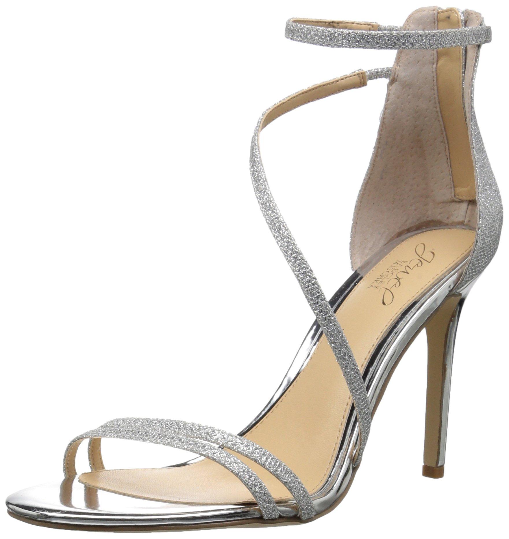 Badgley Mischka Jewel Women's Gail Heeled Sandal, Silver, 9.5 Medium US