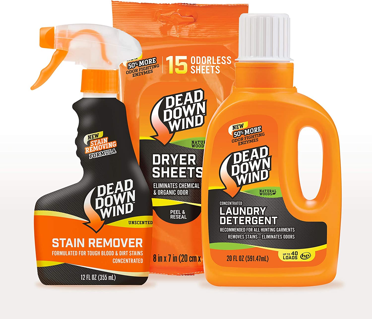 Dead Down Wind Natural Woods Laundry 3 Piece Kit – Stain Remover, Laundry Detergent and Dryer Sheets – Odor Elimination For Hunting Gear