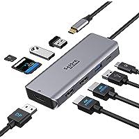 Docking Station USB C, Hub USB C Dual HDMI Adaptador,Docking Station Dual Monitor,9 en 1 Triple Display HUB,USB 3.0…