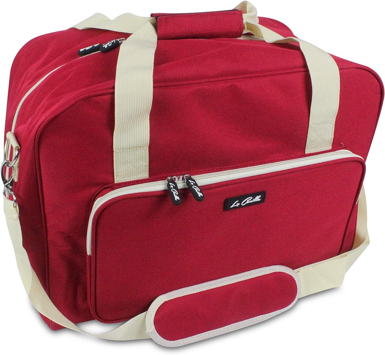 La Canilla ® - Bolsa para Máquina de Coser Funda Máquina de Coser Maleta de Transporte para Máquinas de Coser Singer, Alfa y otros Accesorios Máquina Coser (Accesorios No Incluidos) (Rojo)