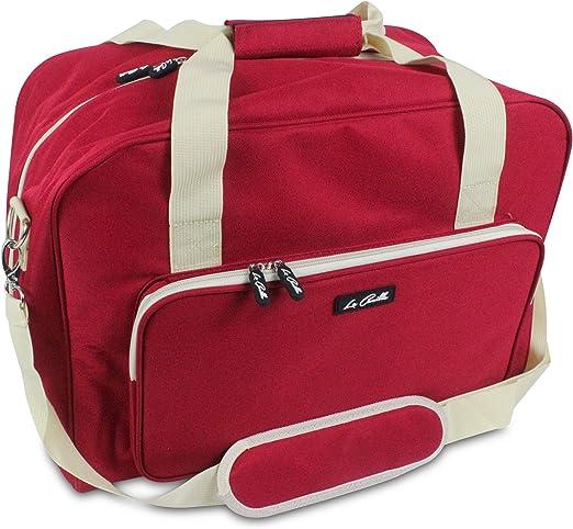La Canilla ® - Bolsa para Máquina de Coser Funda Máquina de Coser Maleta de Transporte para Máquinas de Coser Singer, Alfa y otros Accesorios Máquina Coser (Accesorios No Incluidos) (Rojo): Amazon.es: