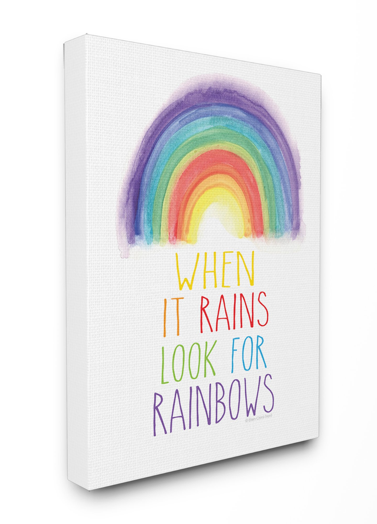 Stupell Home Décor Look for Rainbows Stretched Canvas Wall Art, 16 x 1.5 x 20, Proudly Made in USA