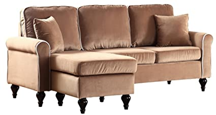 Amazoncom Classic And Traditional Small Space Velvet Sectional