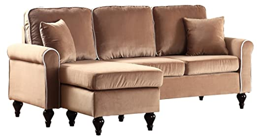 Divano Roma Furniture Classic and Traditional Small Space Velvet Sectional Sofa with Reversible Chaise (Champagne)