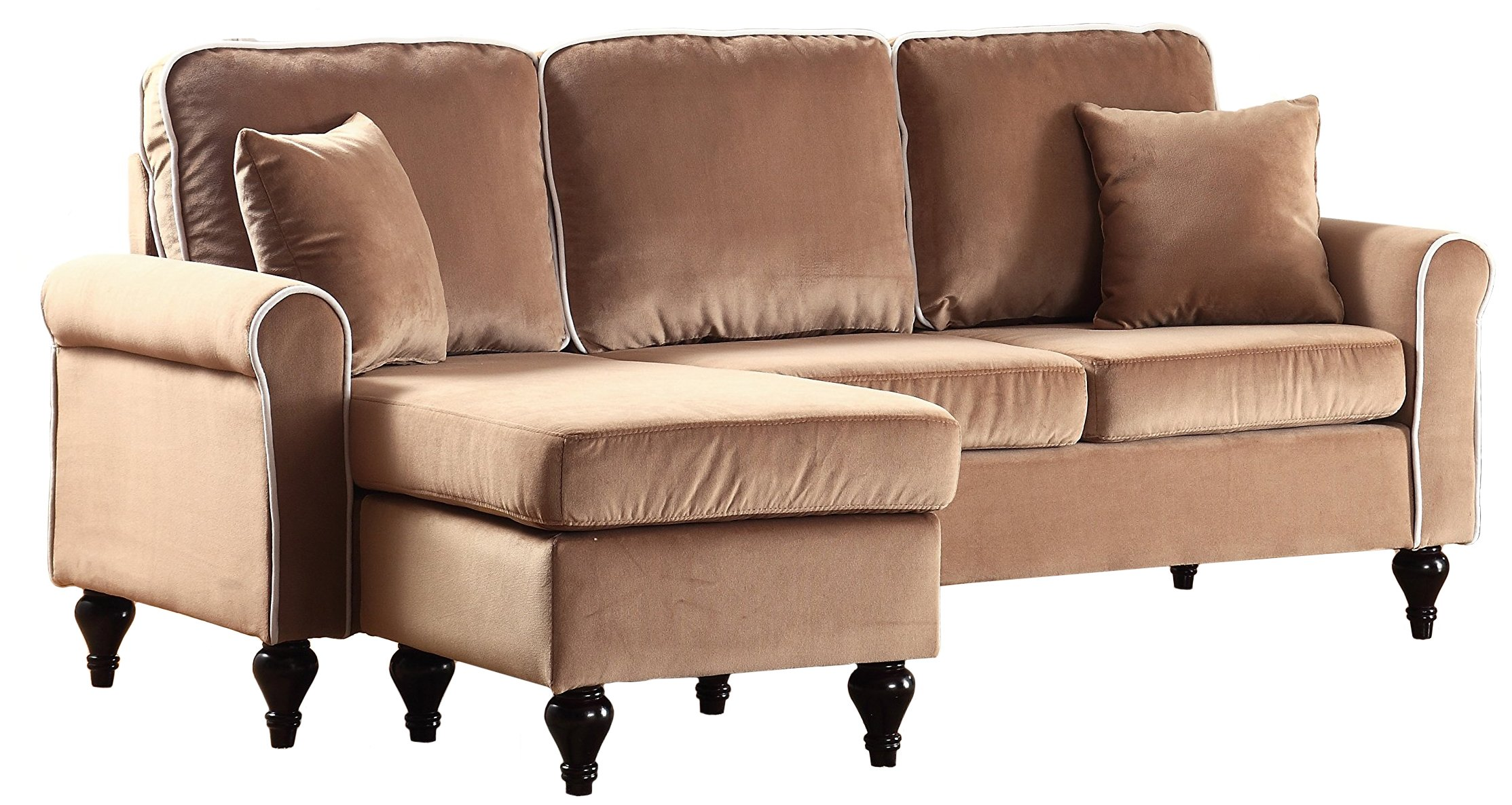 Classic and traditional small space velvet sectional sofa with reversible chaise champagne