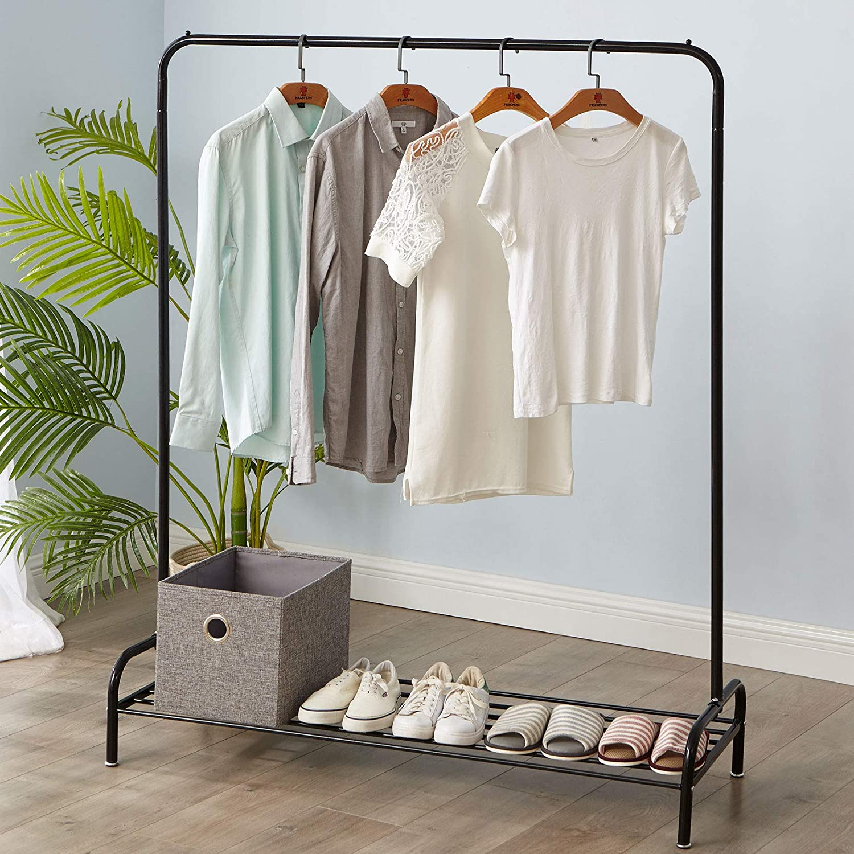 Garment Rack Metal Hanging Clothes Garment Rail Shoe Rack Display Stand Rack US