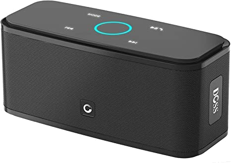 Bluetooth Speakers, DOSS SoundBox Touch Portable Wireless Bluetooth Speakers with 12W HD Sound and Bass, 20H Playtime, Handsfree, Speakers for Home, Outdoor, Travel-Black