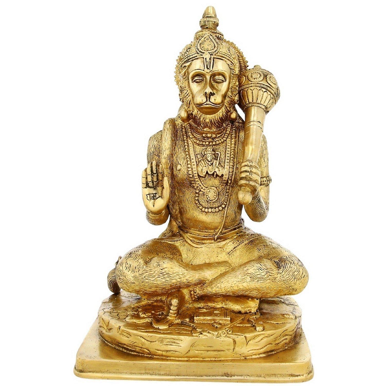 Aone India Large Brass Statue Hanuman Monkey God Hindu Idol For Puja Mandir Temple 12 inch,5.1 Kg + Cash Envelope (Pack Of 10)