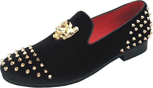Men/'s Spikes Loafers Dress Shoes Leather Slippers Slip-on Flats with Red Bottom