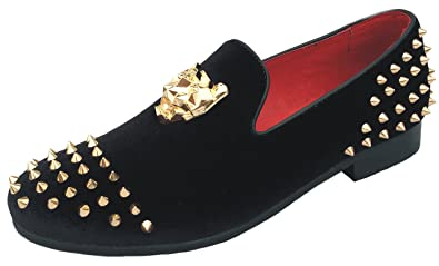 d8d8f43bbad7 Justar Men s Spikes Dress Shoes Black Velvet Loafers with Gold Buckle Slip-On  Slippers Flats